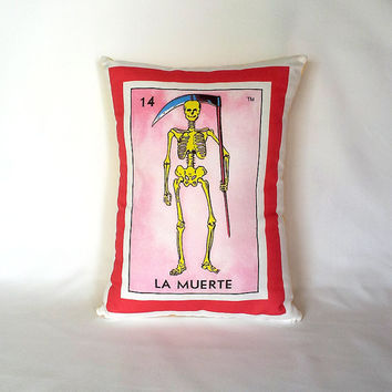 Muerte (death/skeleton) Loteria Pillow Cover - Linen Cotton Canvas - Day of the Dead, Dia de los Muertos