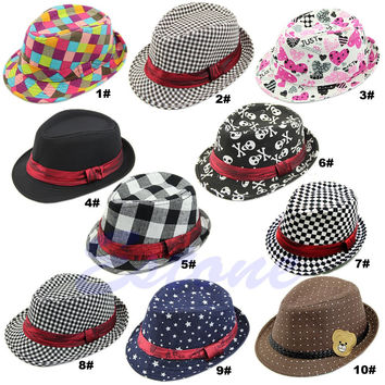 Baby Kids Children Trilby Toddler Boys Girls Fedora Jazz Hat Outdoor Cotton Cap