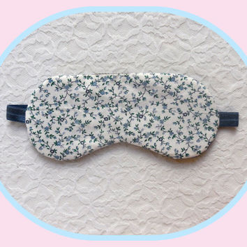 White Sleep Mask - Blue Tiny Flowers - Women - Light Blue Vintage Cotton - Thin Sleeping Mask - Women's Lightweight Night Mask
