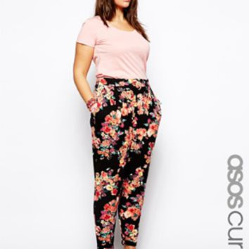 ASOS CURVE Exclusive Peg Pant In Floral Print