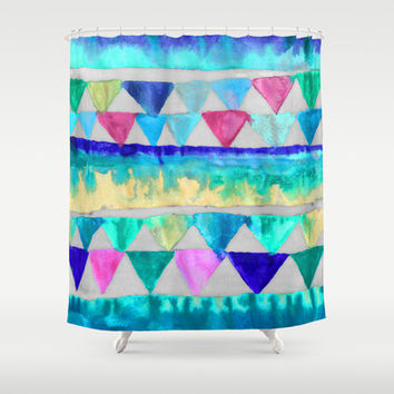 Bright Bunting - fun blue, pink & emerald green painted triangles Shower Curtain by TigaTiga Artworks
