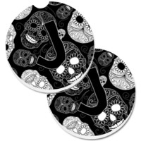 Letter J Day of the Dead Skulls Black Set of 2 Cup Holder Car Coasters CJ2008-JCARC