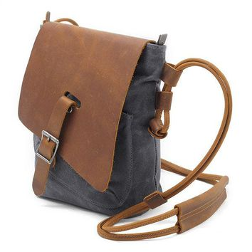 Ekphero Genuine Leather Canvas Shoulder Bags