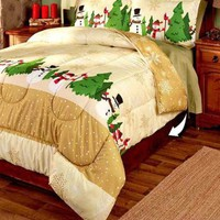 3-Pc Snowman King Comforter Shams Set Reversible Christmas Holiday Bedroom Decor