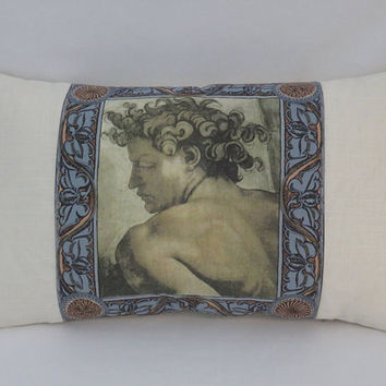 "Classical Man Pillow, 13 x 22"" Linen, Oblong Lumbar Rectangle, Cream w/ Ochre Sepia Blue Terracotta, Renaissance Old Master Art Throw (E)"