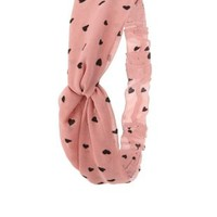 Heart Print Knotted Head Wrap by Charlotte Russe - Pink
