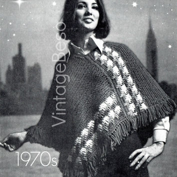 Ladies PONCHO CROCHET PATTERN Vintage 1970s Color Cascade Poncho Pattern Free Gift Bohemian Clothing - Pdf Pattern - Instant Download