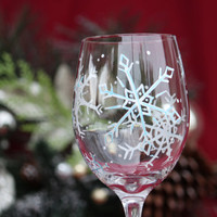 Snowflake Wine Glass / Hand Painted Wine Glass
