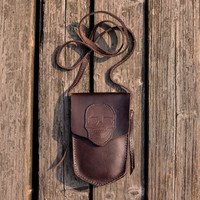 Embossed Skull Purse - Coffee Brown - Leather  Purse - Camera Bag