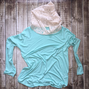 Hoodie w/ Lace Elbow Patch Turquoise