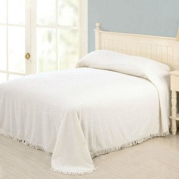King size White Cotton Chenille Bedspread with Fringed Edges