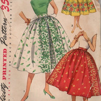 Vintage 1950s Simplicity Sewing Pattern Retro Rockabilly Style Swing Skirt Full Flared Circle Skirt Inverted Front Pleat Waist 32