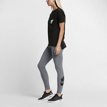 KUYOU Nike Women's Sportswear Leg-A-See Tights (Heather Grey/Black)