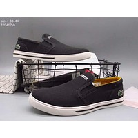 LACOSTE 2017 men and women casual trendy low-state canvas shoes F-A36H-MY Black