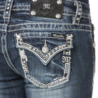 Miss Me Metallic Rebel Border Boot Cut Jeans