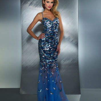 Mac Duggal 2013 Prom Dresses - Quicksilver Sequin Mermaid Dress - Unique Vintage - Prom dresses, retro dresses, retro swimsuits.
