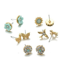 Unique Girls (5) Earring Sets (3 Flower, Bird and Butterfly)