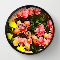 Painted Fall Flower Bouquet Wall Clock by KCavender Designs