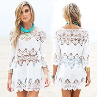 Loose White Crochet Beach Cover Up
