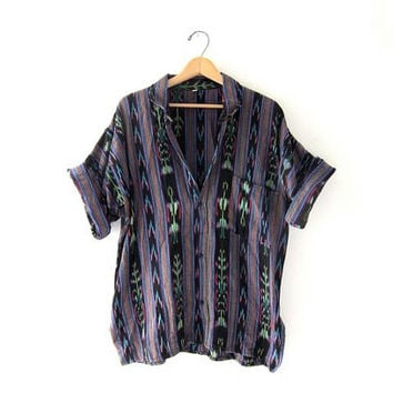 Vintage Guatemalan Shirt. Button Up Shirt. Oversized ethnic tribal shirt.