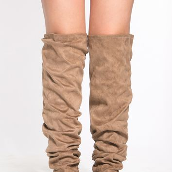 Taupe Thigh High Slouch Boots @ Cicihot Boots Catalog:women's winter boots,leather thigh high boots,black platform knee high boots,over the knee boots,Go Go boots,cowgirl boots,gladiator boots,womens dress boots,skirt boots.
