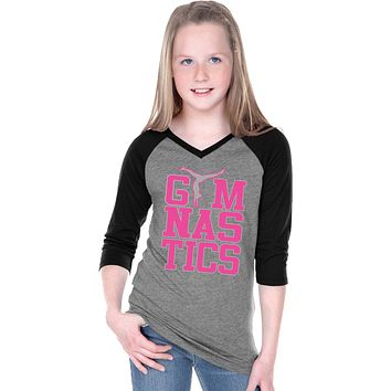Girls Gymnastics T-shirt Text V-Neck Raglan
