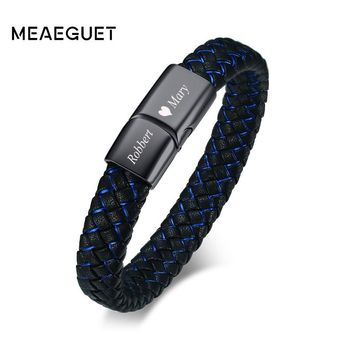 Vintage Personalized Men's Leather Wrap Bracelet Black Silver Bucklet Wave Hand Made Braided ID Bangle For Male Punk DIY Jewelry