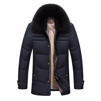 Fox Fur Collar Duck Jacket Turn Down Collar Medium Long Men