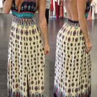 Boho Printed Halter  Neck Maxi Dress B0014967