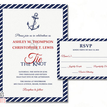 Nautical Wedding Invitation - Nautical Wedding Invites - Tying the Knot Wedding Invitation - Beach Wedding Invitation Set Printable