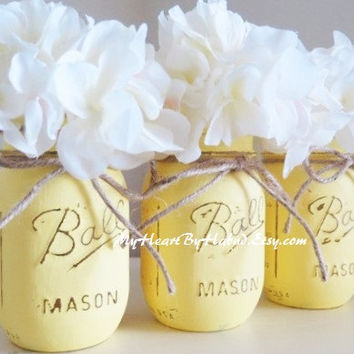 Yellow Distressed Mason Jars, Baby Shower Centerpieces, Yellow Home Decor, Painted Vases, Ball Mason Jars, Baby Shower Favors, Yellow Vase
