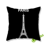 Paris Eiffel Tower Black Square Pillow Cover