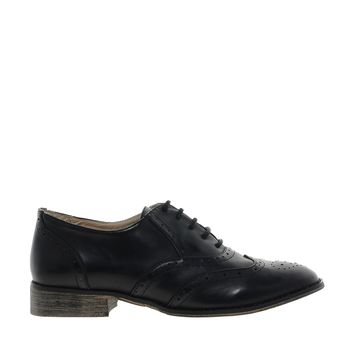 London Rebel Black Brogue Shoes