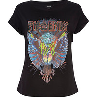 River Island Womens Black Phoenix print studded t-shirt