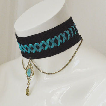 Gothic choker - Dark sea queen - black witch necklace  - goth lolita kitten play collar with resin stone and turquoise blue lacing