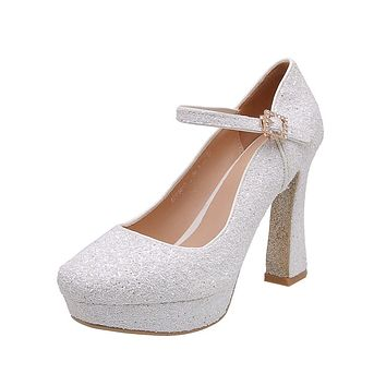Women's Chunky Heel Pumps Sequined Bridal Shoes High Heel