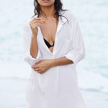 PEAPGC3 Lady Pareo Beach Bikini Swimsuit Tunic Covers Up Summer Autumn Blouse Shirt Swimwear Women Kaftan Beach Towel Bikini Sheer Dress