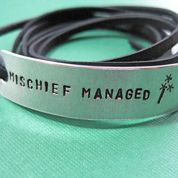 Hand Stamped Mischief Managed Bracelet