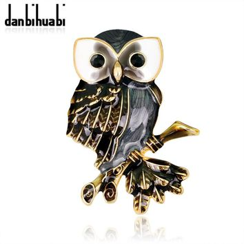 danbihuabi Pin Broches Vintage Animal Badges Enamel Pins and Brooches for Women Rhinestone Metal bijouterie Brooch Owl Badge