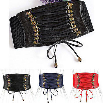 Fashion Women European Style Trench Velvet Retro Rivet Tassel Strap Belt Waist