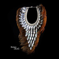 Brown Feather And Silver Shell Triangular Neck Collar Decor Iridescent Shells;Real Feathers Designer Home Decor Accent
