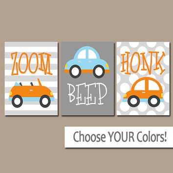 Boy Nursery Wall Art, CARS Wall Art, Transportation Theme, Baby Boy Pictures, CANVAS or Prints, City On The Go, Zoom Beep Honk, Set of 3