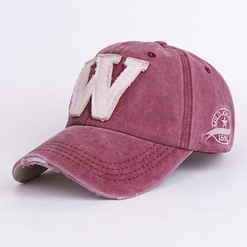 Cotton Embroidery Letter W Baseball Cap For Men Women Snapback Cap Hat Sports Caps Bone Outdoor Hat Style For Custom Hats