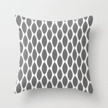 Velveteen Pillow - Grey Ikat Petals - Pillow Cover - Grey Throw Pillow - Decorative Pillow - Accent Pillow - Ikat Pillow