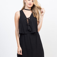 Tiered Lace-Up Dress