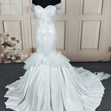 C.V Quality Satin Vintage Mermaid Wedding dress with long wrap Pure White Lace Embroidery Africa mermaid wedding Gown W0216