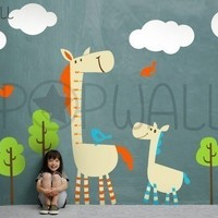 Children Wall Decal Sticker- Horse wall decal with Growth Charts wall decals- 038