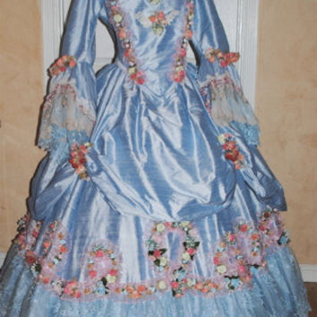 Floral Victorian Silk Marie Antoinette Gown by RomanticThreads