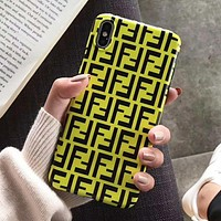 FENDI Fashion iPhone Phone Cover Case For iphone 6 6s 6plus 6s-plus 7 7plus iPhone X XR XS XS MAX Yellow