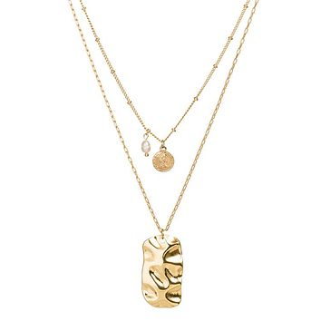 Gold Layered Necklace with Gold Bar Pendant